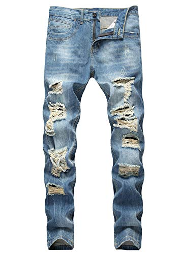 Men's Ripped Destroyed Distressed Vintage Straight Fit NO Stretch Denim Jeans