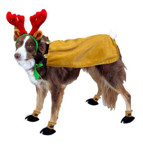 Kyjen Dog Reindeer Suit w/Booties and Antlers, Medium, My Pet Supplies