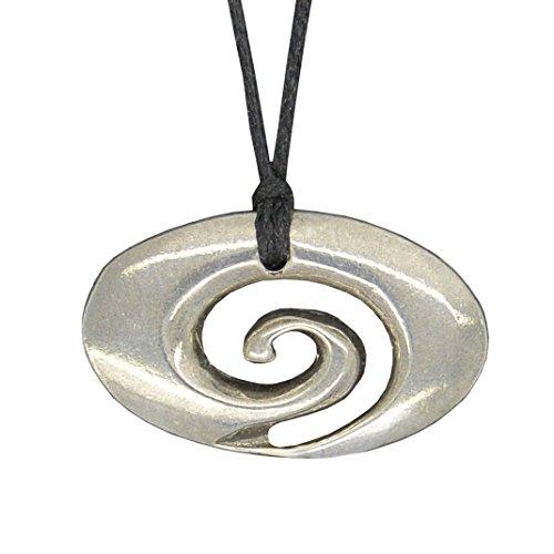Handmade New Zealand Rakaia Oval Spiral Pewter Pendant on Waxed Cord
