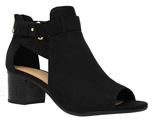 MVE Shoes Women's Open Toe Chunky Heel Back Zipper Sandal, Black Size 5.5