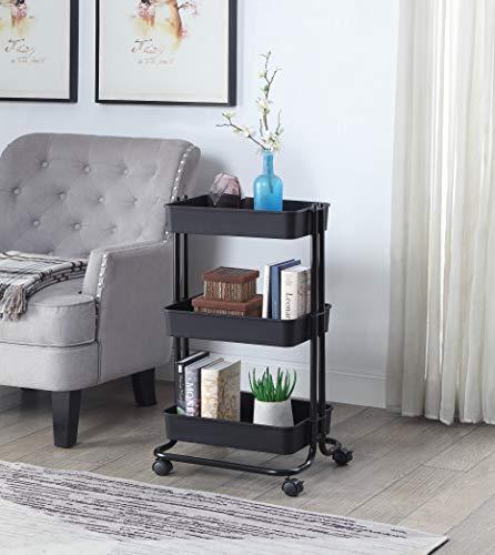 (SunnyPoint 3 Tier Basket Rolling Utility Cart (Mat Black))