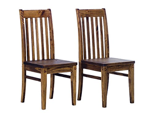 Brazilfurniture Chair Rio in Oak Antique, Set of 2, Solid Pine Wood Oiled Oil, Optional with Matching Tables Expandable and Chairs, Modern Wooden Conference Desk Kitchen Living Room
