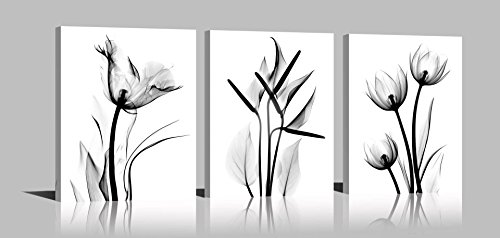 YPY Oil Painting Elegant Flowers 3 Panels Black and White Color Tulip Print on Canvas Wall Art for Home Decor
