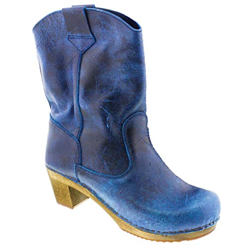 Sanita Women's Laureen Wood Distressed Leather Clog Boot (Factory 2nd) (Color: Navy/Size: 36 EU)