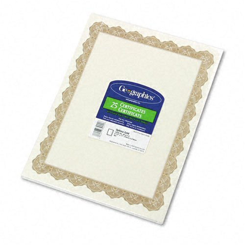 Geographics : Parchment Paper Certificates, 8-1/2 x 11, Optima Gold Border, 25 per Pack -:- Sold as 2 Packs of - 25 - / - Total of 50 Each ()