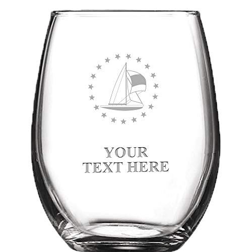 (Sailboat Personalized Wine Glass - 9 oz Custom Soiree Stemless Sailing Wine Glass Gift Prime)