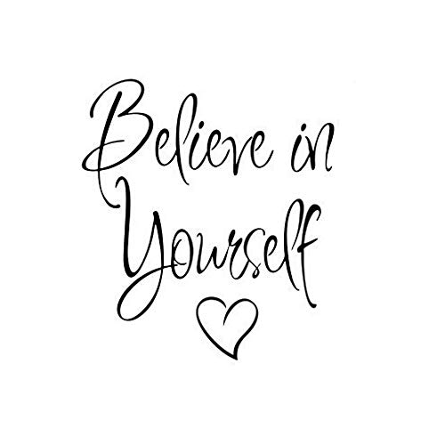 YOMXL Family Mirror Quote Decals - Believe in Yourself - Removable Art Mural Wall Stickers Inspiring Quote Letter Wallpaper Wall Decor Bedroom Living Room