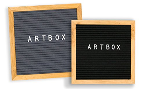DOUBLE SIDED Felt Letter Board, black and grey, 10 x 10 inches, Changeable Letters message board with wooden oak frame, stand, free canvas (Free Bulletin Board Letters)