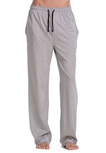 CYZ Comfortable Jersey Cotton Knit Pajama Lounge Sleep Pants -Melange Grey-XL (Personalized Christmas Pajamas)