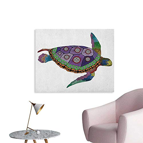 - Anzhutwelve Psychedelic Art Decor Decals Stickers Sea Turtle with Colorful Ornamental Style Tattoos on Animal Art Work Poster Paper Purple Orange Pink W32 xL24