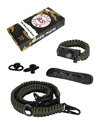 Sling Traditional 2-Point 550 Paracord Sling Complete Bundle | Two Point Strap | Bonuses Sling Swivels & Survival -