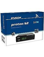 EDISION Proton S2 Full HD SAT Receiver FTA, (1x DVB-S2, USB WiFi ondersteuning, USB, HDMI, SCART, S/PDIF, IR Eye, FTA zwart) [voorgeprogrammeerd voor Astra ]