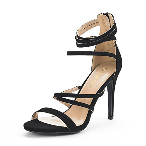 DREAM PAIRS Women's Show Black Nubuck High Heel Dress Pump Sandals - 7 M US