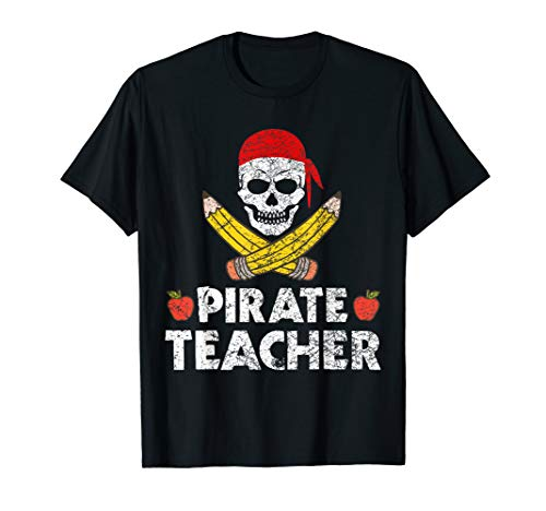 Pirate Teacher Funny Halloween T-Shirt Skull Adult -
