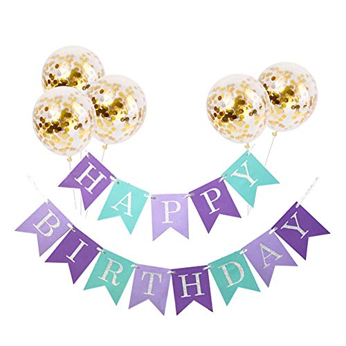 (Tellpet Multicolor Purple HAPPY BIRTHDAY Banner with 5 pcs Gold Confetti)