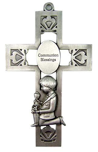 (Silver-Toned Pewter Boy Communion Blessings Medal Hanging Wall Cross, 5 1/4 inches)
