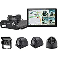 WeniChen 4 Channel Panoramic MDVR kit for Bus Truck Trailer - 960P 4CH SD Card Mobile DVR Video Recorder + 4x 720P Front Side Rear View Cameras + 9 Touch Monitor with GPS Navigation + 4pcs Cables