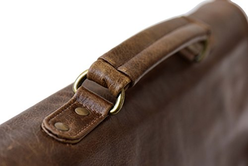 The Aartisan 16.5'' Vintage Pocketed Genuine Leather Messenger Laptop Briefcase (Brompton Cocoa) Shoulder Canvas Leather Satchel Bag Free Gift Included Multi Purpose Use by THE AARTISAN (Image #2)