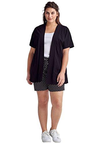 Sleeve Short Open Knit - Ellos Women's Plus Size Short Sleeve Open Knit Cardigan - Black, 22/24