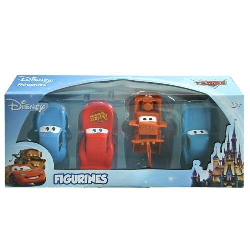 Disney Pixar Cars 4 pc Figurine Playset Mcqueen, Mater, Sally, McMissle Figurine Figure (Disney Cars Figure)