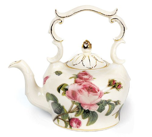 - Porcelain Teapot With Delicate Rose Design For Teas And Fine Dining Pleasure