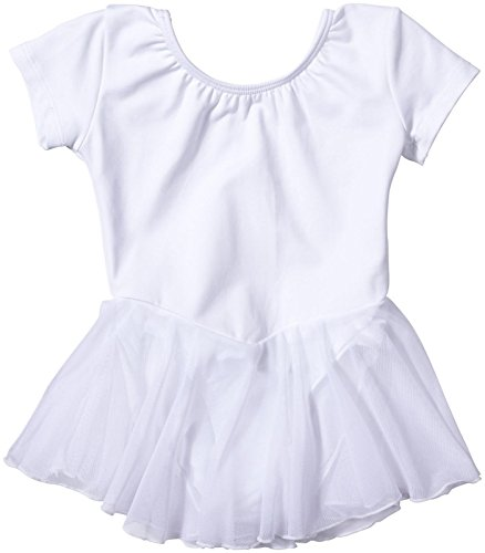 Bal Togs Leotards (Bal Togs Youth Short Sleeve Silktech Leotard with Attached Skirt, White - S)