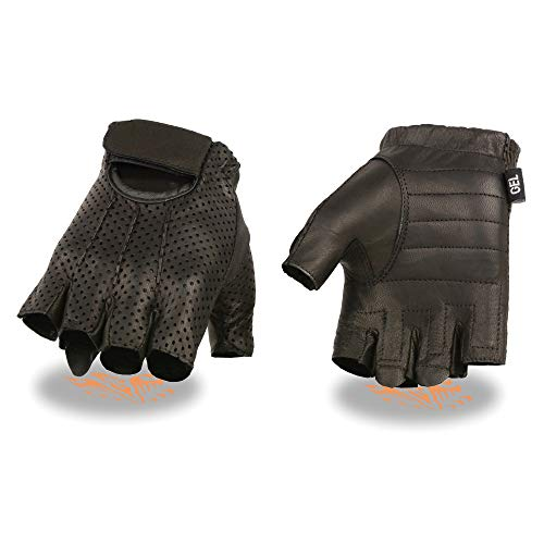 - Men's Leather Perforated Fingerless Glove w/ Gel Palm (X-Large)