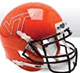 Schutt NCAA Virginia Tech Hokies Mini Authentic XP Football Helmet, Orange w/Clear VT Alt. 9, Mini