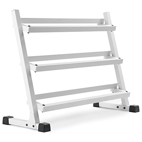 XMARK Heavy Duty Three Tier Dumbbell Rack With Angled Shelves for Easy Loading and Unloading of Dumbbells 1000 lb. Weight Capacity (Gray or White)
