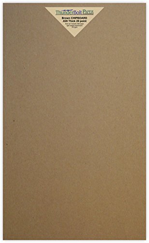 20 Sheets Chipboard 20pt (point) 8.5 X 14 Inches Light Weight Legal Size .020 Caliper Thick Cardboard Craft|Ship Brown Kraft Paper Board by ThunderBolt Paper