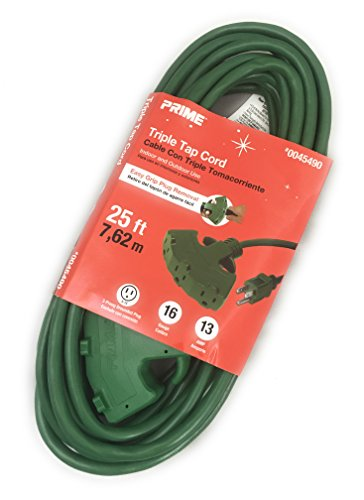 Extension Cord 25 Ft Triple Tap Awg 16 Gauge Indoor Outdoor Green 3 Conductor Grounded