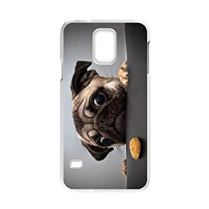 Samsung Galaxy S5 Case,Cute Pug Dog Love Biscuit Pattern Cover With Plastic Protective Hard Case
