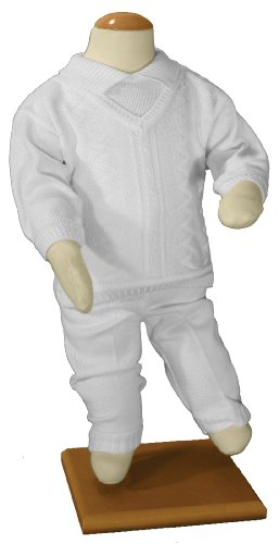 Boys 100% Cotton Knit Two Piece White Christening Baptism Outfit, 03 Month by Little Things Mean A Lot (Image #2)
