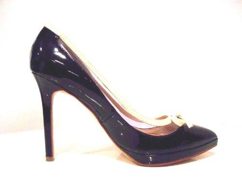CAFèNOIR Zapatos de Vestir de Charol Para Mujer Negro/Blanco