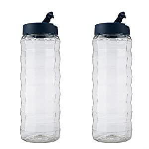 Komax Edge water bottles one touch opening for indoors - Blue (2,000ml / 67.6oz) (Set of 2)