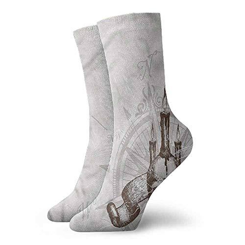 Novelty Socks for Men and Women Compass Priate Skull Compass Hiker Boot Sock -