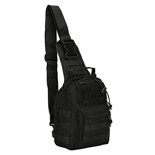 yinpinxinmao para hombre militar Bolsa de pecho deportes bolsa de hombro Casual lona bolso bandolera, Negro, Una talla