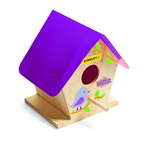 Stanley Jr DIY Bird House Kit for Kids - Easy Assembly Paint-A-Birdhouse Kit - Purple Roof Girl Bird House - Wooden Birdhouse Kit - DIY Kits for Girls - Paint & Decals Included