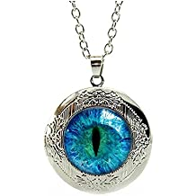"Dragon Eye Engraved Locket Pendant Necklace 18"" - Valentine's Day Sale"