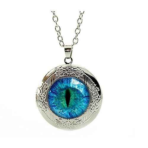 - Chandria's Treasures Dragon Eye Engraved Locket Pendant Necklace 18