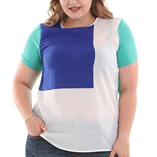 【MOHOLL】 Womens Tops Casual Tee Shirts Short Sleeve Patchwork Color Block Loose Fits Tunic Tops Blouses Plus Size Sky Blue