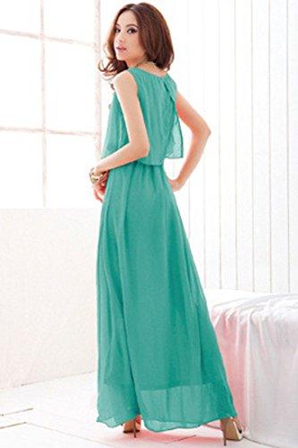 Maxi Layered Dress Back Aqua Split Grace Chiffon Achicigirl xFaAnZ
