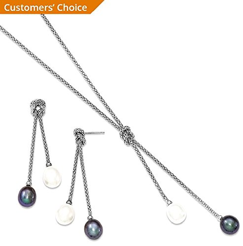 ICE CARATS 925 Sterling Silver Freshwater Cultured Pearl Knot 18 In. Neck Post Stud Earrings Set Drop Dangle Necklace Fine Jewelry Gift Set For Women Heart by ICE CARATS (Image #3)
