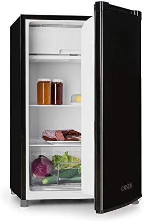 Klarstein Samara Kühlschrank - insgesamt 120 Liter Nutzinhalt, Energieeffizienzklasse A+, Gemüse-Fach, Glasböden, 3 Türfächer, Innenraumbeleuchtung, schwarz