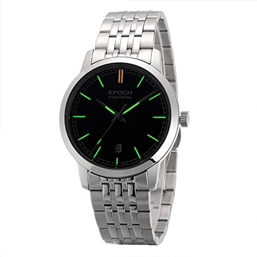 Water Resistant 50M T25 Tritium Luminous Mens Dress Ultrathin Automatic Self-Wind Mechanical Wrist Watch (Black dial Green Luminous) - EPOCH 6026G A Style