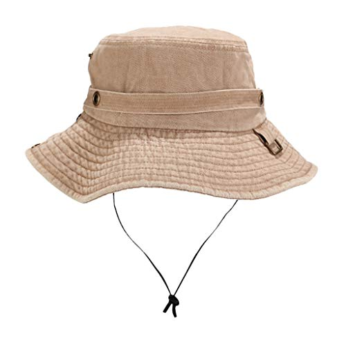 (Unisex Outdoor Hat Protection Bucket Boonie Cap Solid Fishing Hat)