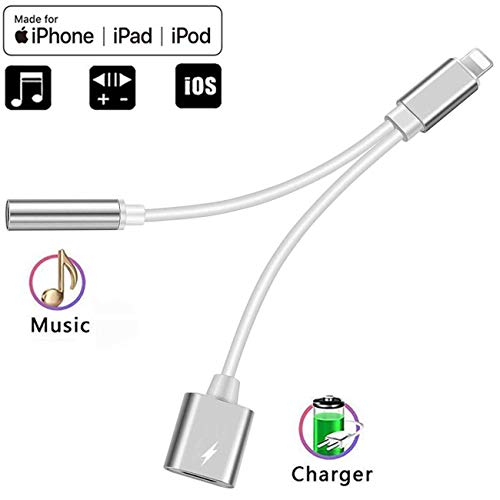 - Headphone 3.5mm Stereo Jack Audio Adaptor Charger Cable Splitter for iPhone, 2 in 1 Headset AUX Music Dongle Splitter Cable Accessories Compatible with iPhone Xs/XR/X/8&Plus/7&Plus/iPad/iPod/iOS 12.