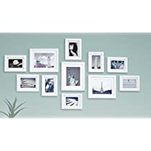 Solid Wood Photo Gallery Wall Frame Set - 11 Frames - Glass Window- With Picture Mats - Frame Width 2cm - White