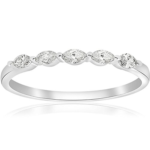 1/2ct Marquise Diamond Five Stone Wedding Ring 14K White Gold - Size ()