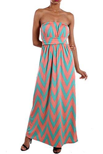 Mint and Coral Long Colorblock Women's ZigZag Chevron Sleeveless Maxi Dress Small